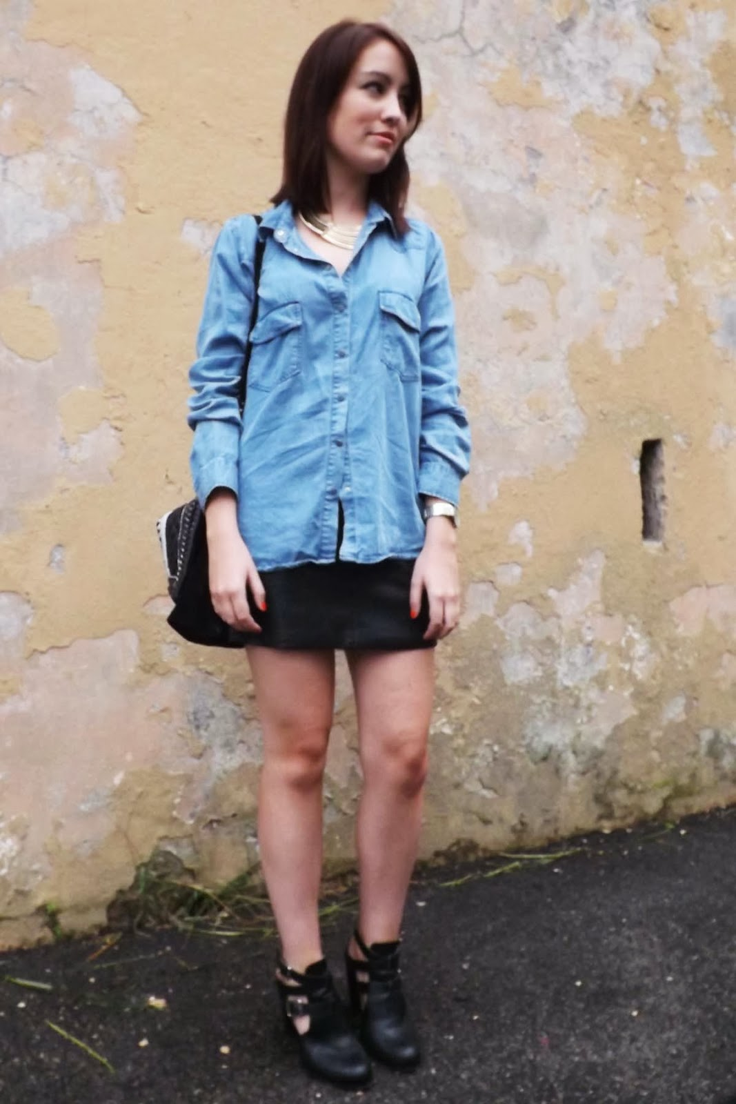 post zara leather skirt denim shirt and