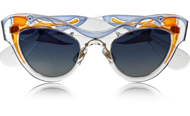 MIU MIU Painted cat eye acetate sunglasses